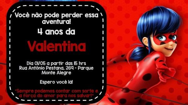 Convite digital ladybug no elo7