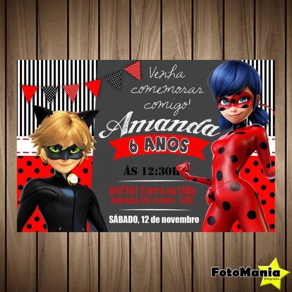 Convite digital ladybug {miraculous} no elo7