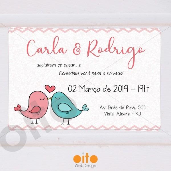 Convite digital noivado pombinhos no elo7