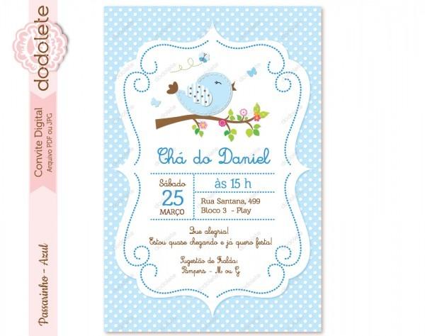 Convite digital passarinho