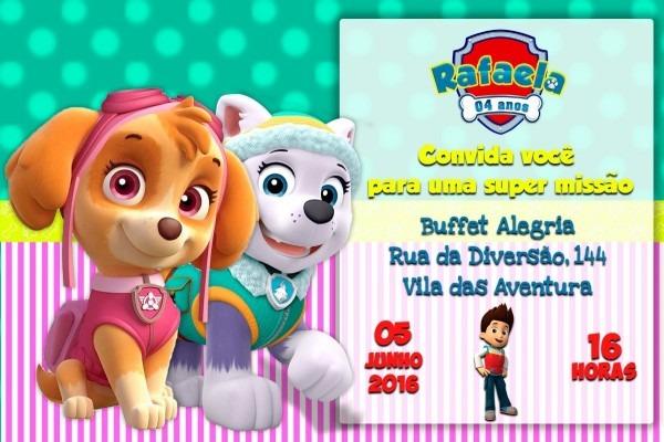 Convite digital patrulha canina aniversário menina