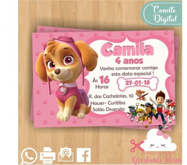 Convite digital patrulha canina menina whatsapp no elo7