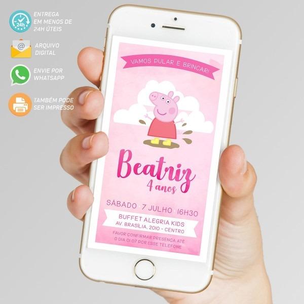 Convite digital peppa aquarela rosa no elo7