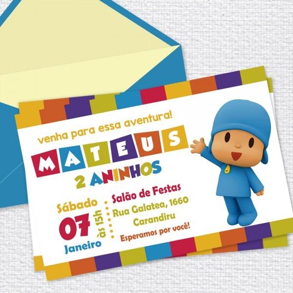 Convite digital pocoyo no elo7
