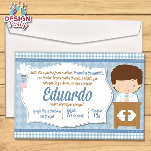 Convite primeira comunhão + envelope no elo7
