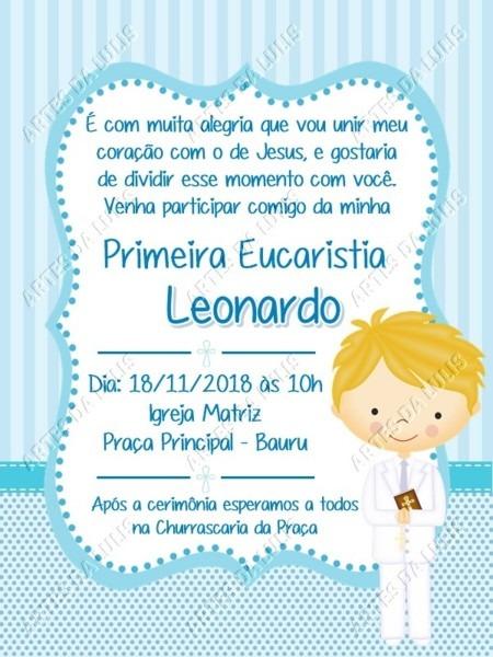 Convite digital primeira eucaristia menino no elo7