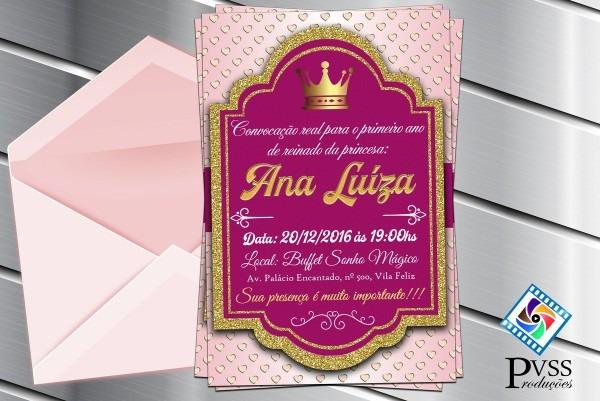 Convite digital princesa realeza reinado no elo7