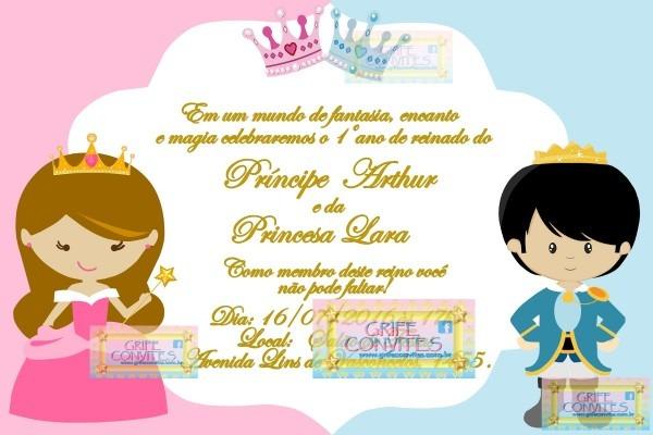 Convite digital príncipe e princesa