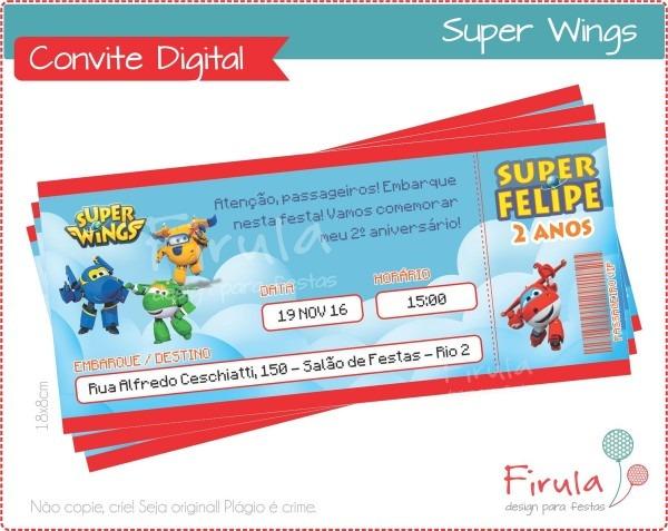 Convite digital super wings no elo7