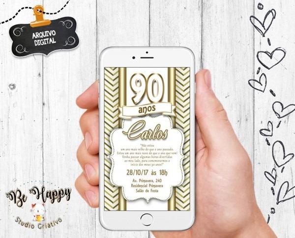 Convite digital 90 anos no elo7
