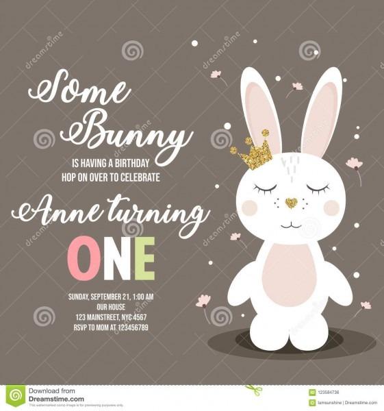 Convite do aniversário com coelho bonito ilustração do vetor
