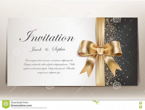Convite do casamento com fita e curva douradas ilustração do vetor