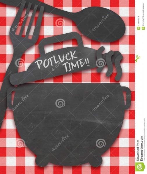 Convite do potluck na toalha de mesa com características do quadro