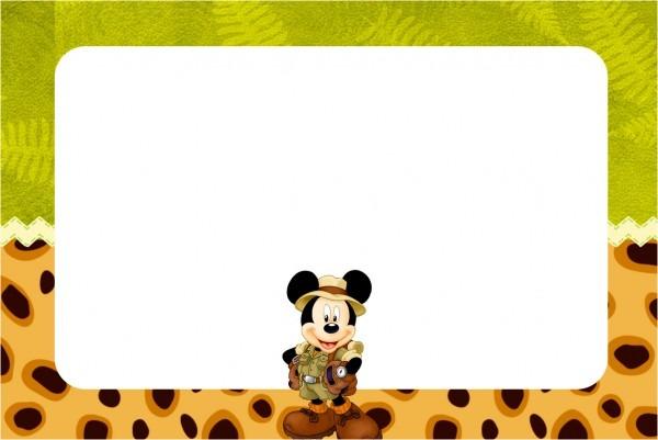 Convite e cartão mickey safari