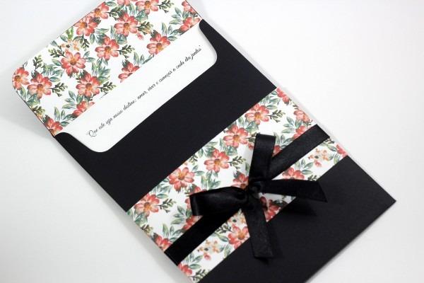 Convite enlace   floral preto no elo7