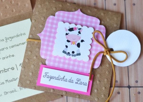 Convite fazendinha rosa scrap no elo7