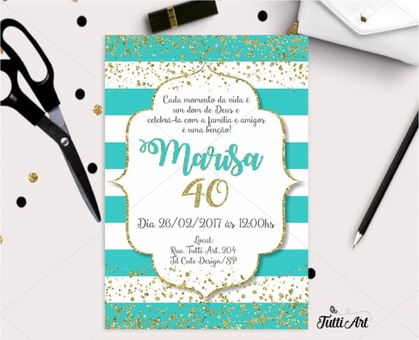 Convite festa 40 50 60 70 anos