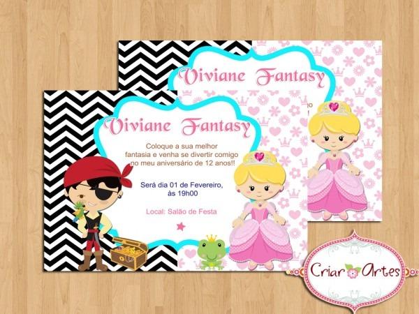Convite festa a fantasia