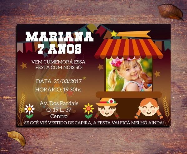 Convite festa junina 10x15cm no elo7