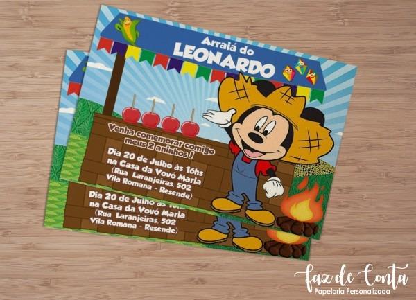 Convite festa junina mickey
