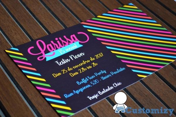 Convite festa neon no elo7