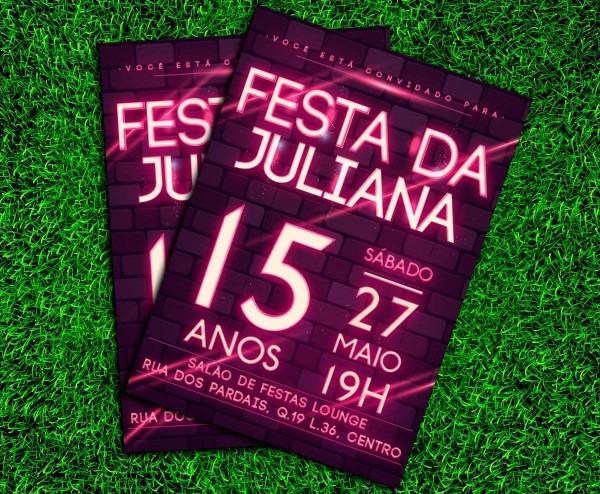 Convite festa neon balada 10x15cm