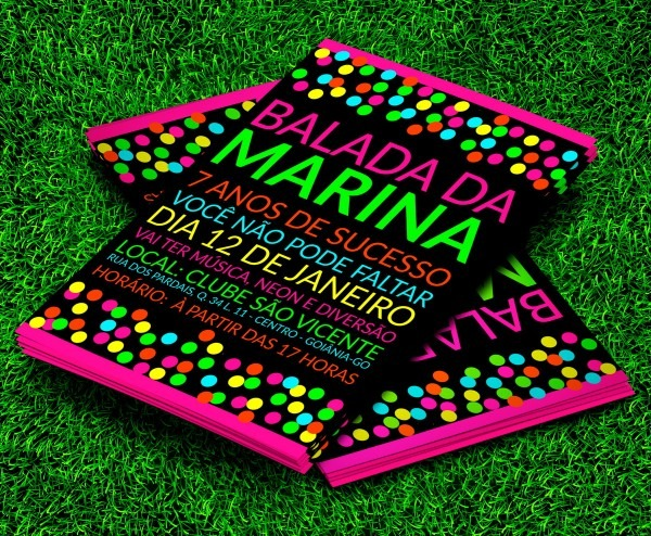Convite festa neon balada colors 10x7cm com envelope no elo7
