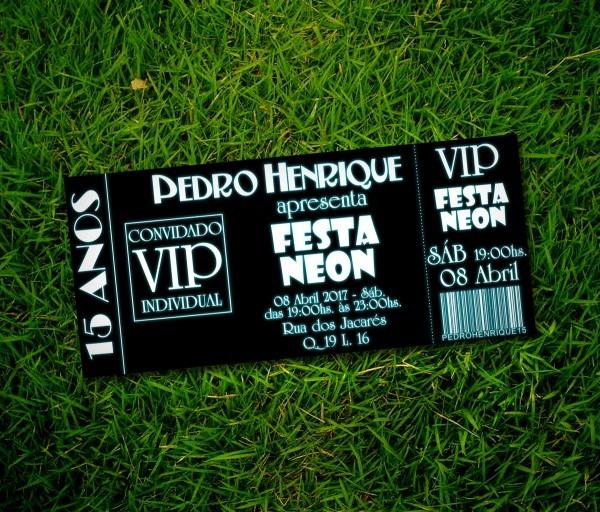 Convite festa neon black no elo7