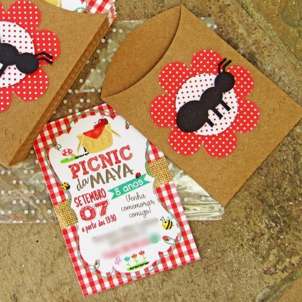 Convite festa picnic com envelope + convite versão digital no elo7