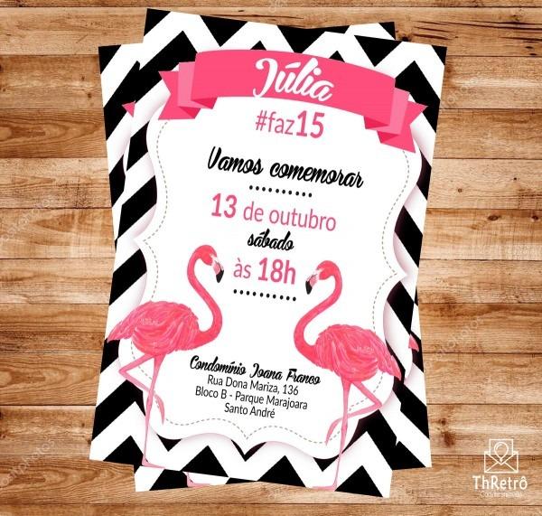 Convite flamingo (arte digital) no elo7