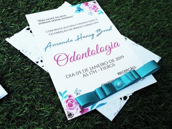 Convite formatura odontologia dentista floral tiffany lindo no