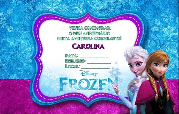 Convite frozen sem envelope no elo7