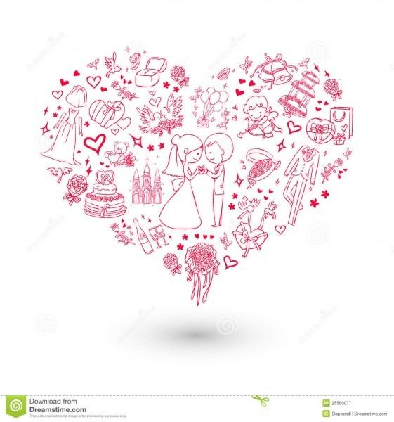 Convite grande do casamento do coração ilustração do vetor