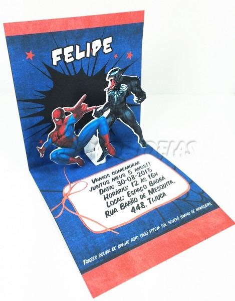 Convite homem aranha x venom 3d no elo7