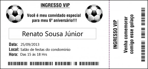 Convite ingresso de futebol no elo7