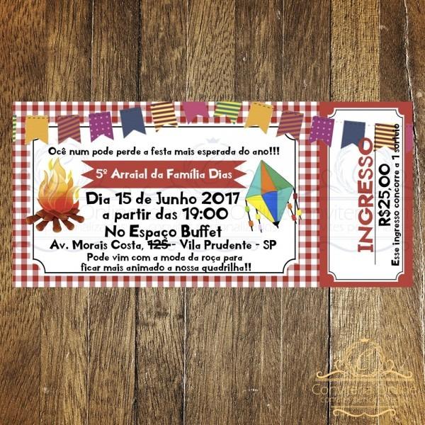 Convite ingresso festa junina no elo7