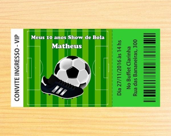 Convite ingresso personalizado futebol no elo7