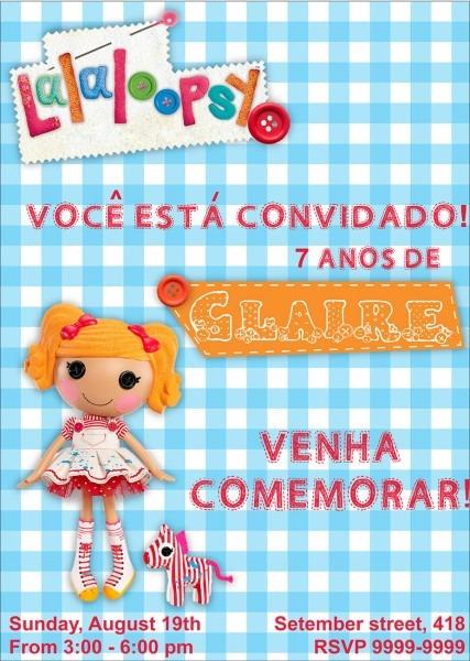 Convite lalaloopsy bonecas 5 modelos no elo7