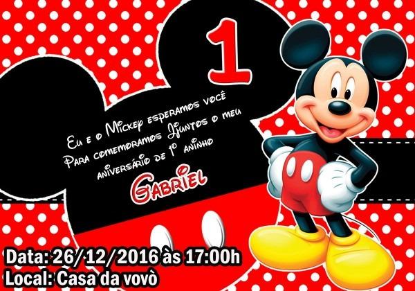 Convite mickey 7x10 no elo7