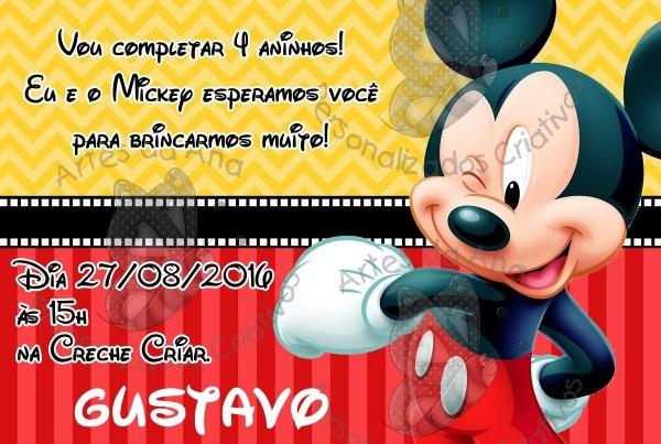 Convite mickey no elo7