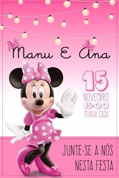 Convite minnie rosa aniversário infantil arquivo digital