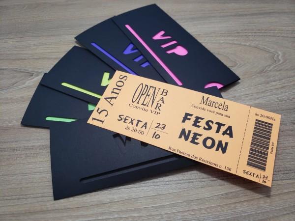 Convite neon vip no elo7