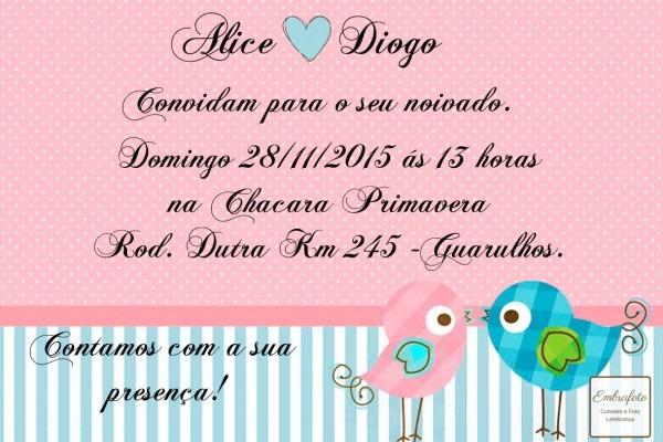 Convites de noivado com passarinhos rosa e azul
