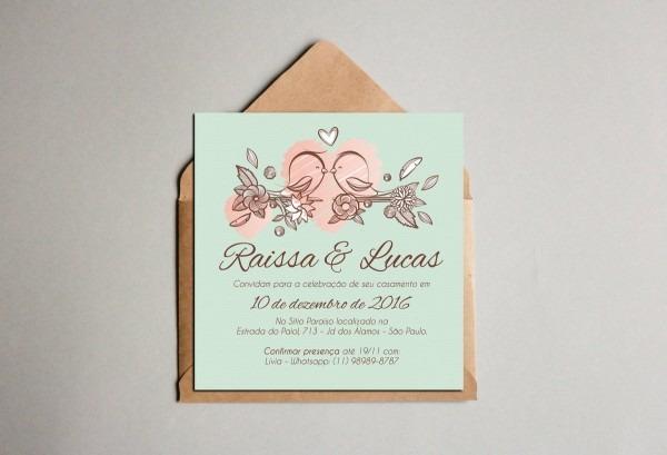A63  convite de casamento mini passarinhos no elo7