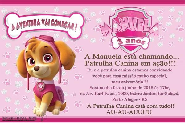 Convite digital patrulha canina menina no elo7