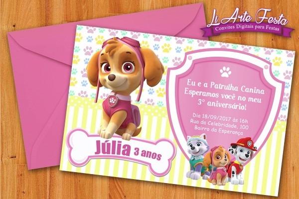 Convite patrulha canina menina (arte digital) + lacre grátis no