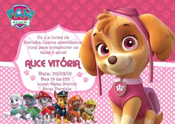 Convite patrulha canina menina no elo7