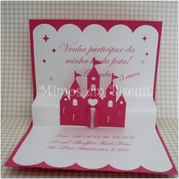 Convite pop up princesas no elo7