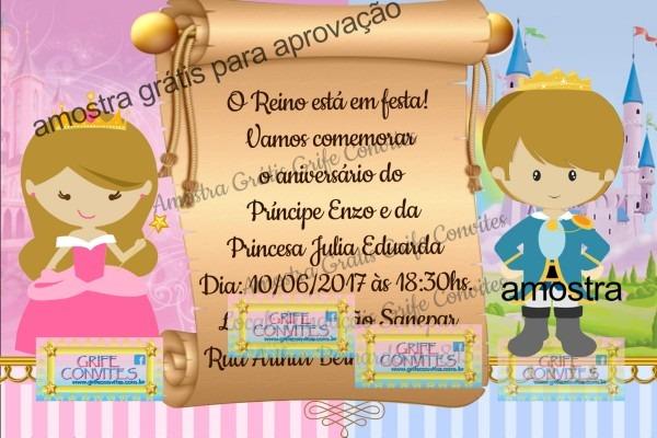 Convite príncipe princesa para imprimir no elo7