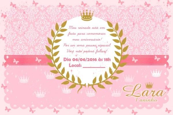Convite realeza princesa com 20 unidades!